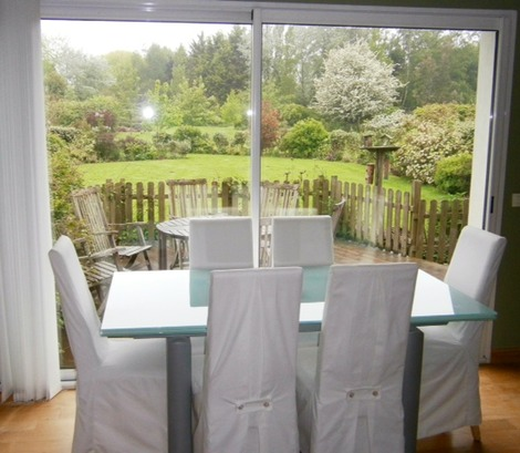 breakfast table with view over rear garden